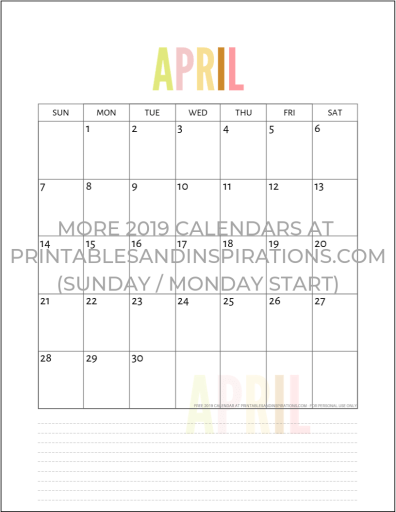 April 2019 calendar free printable monthly planner