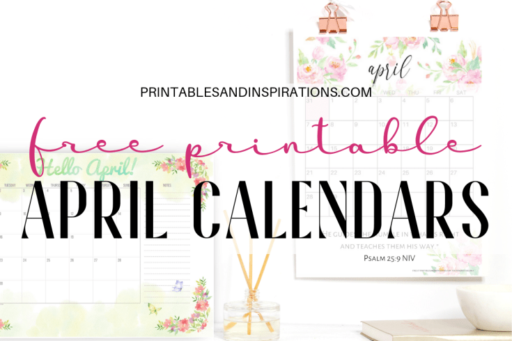 April 2019 Calendar Free Printable Planner with floral designs, Sunday or Monday start, #freeprintable #printablesandinspirations