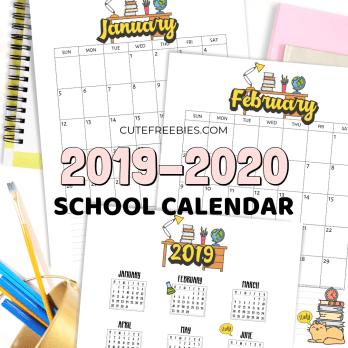 2020 school calendar from cutefreebIes