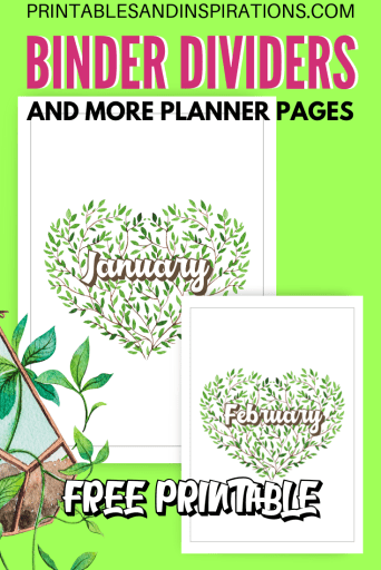 Free printable binder cover or binder divider plus more free planner pages! #freeprintable #printablesandinspirations #plannerlover #planneraddict
