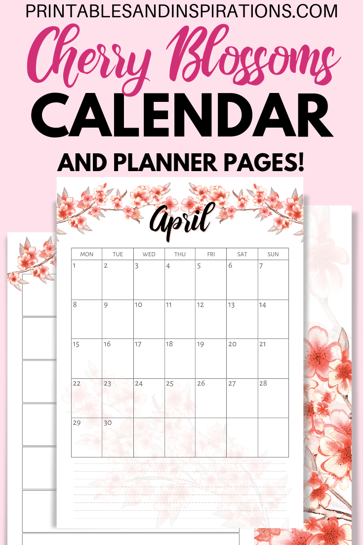 Free Cherry Blossoms Calendar 2019 2020 Planner + Stickers ...