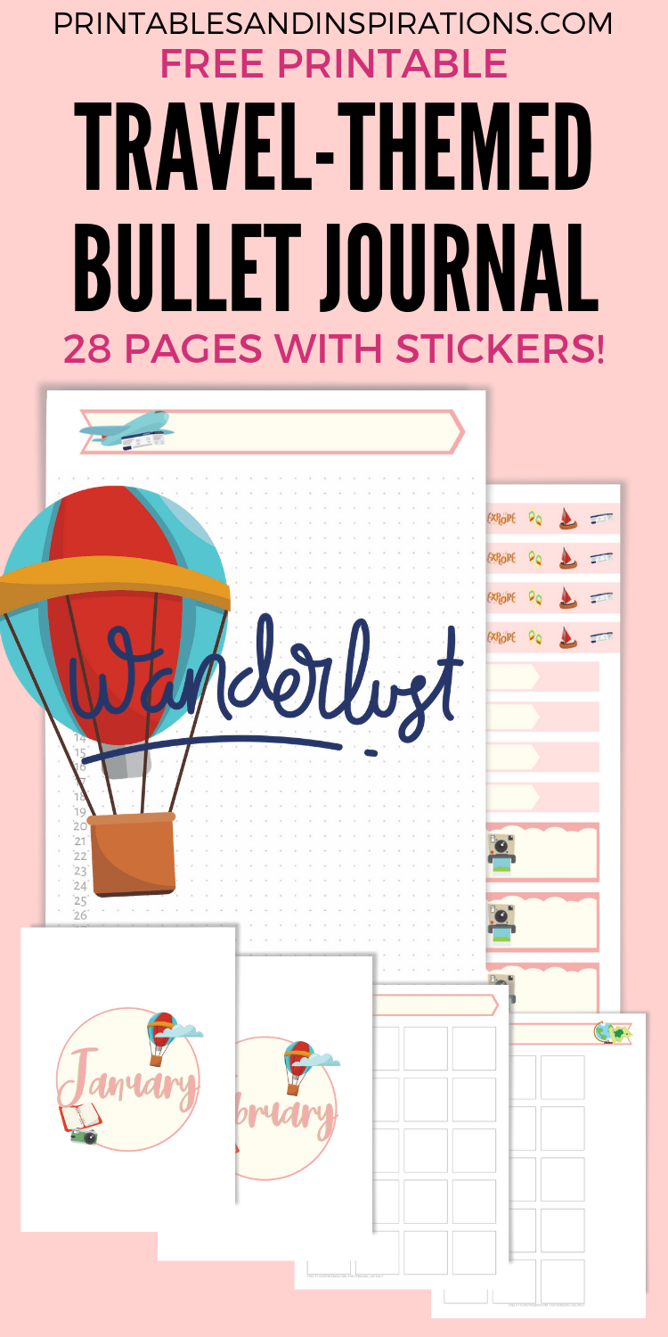 Free Travel Bullet Journal Printable Planner And Stickers