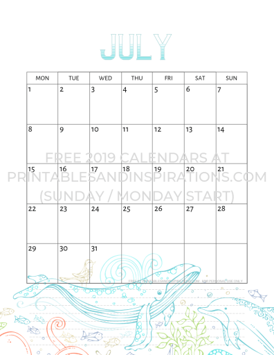 July 2019 calendar free printable with whale and dolphin. #freeprintable #printablesandinspirations #ocean #underwater #sealife