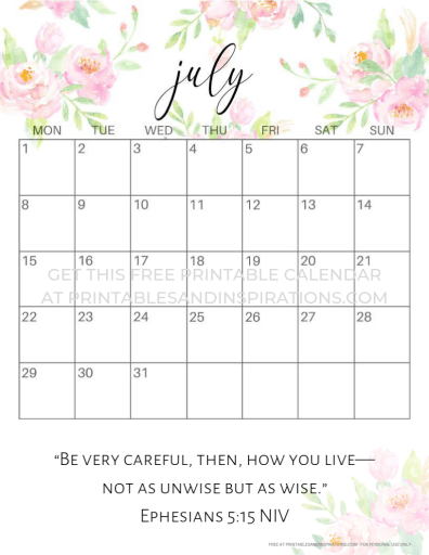 July 2019 calendar free printable with Bible verse. #freeprintable #printablesandinspirations #bibleverse #lifeverse #bibleverseoftheday