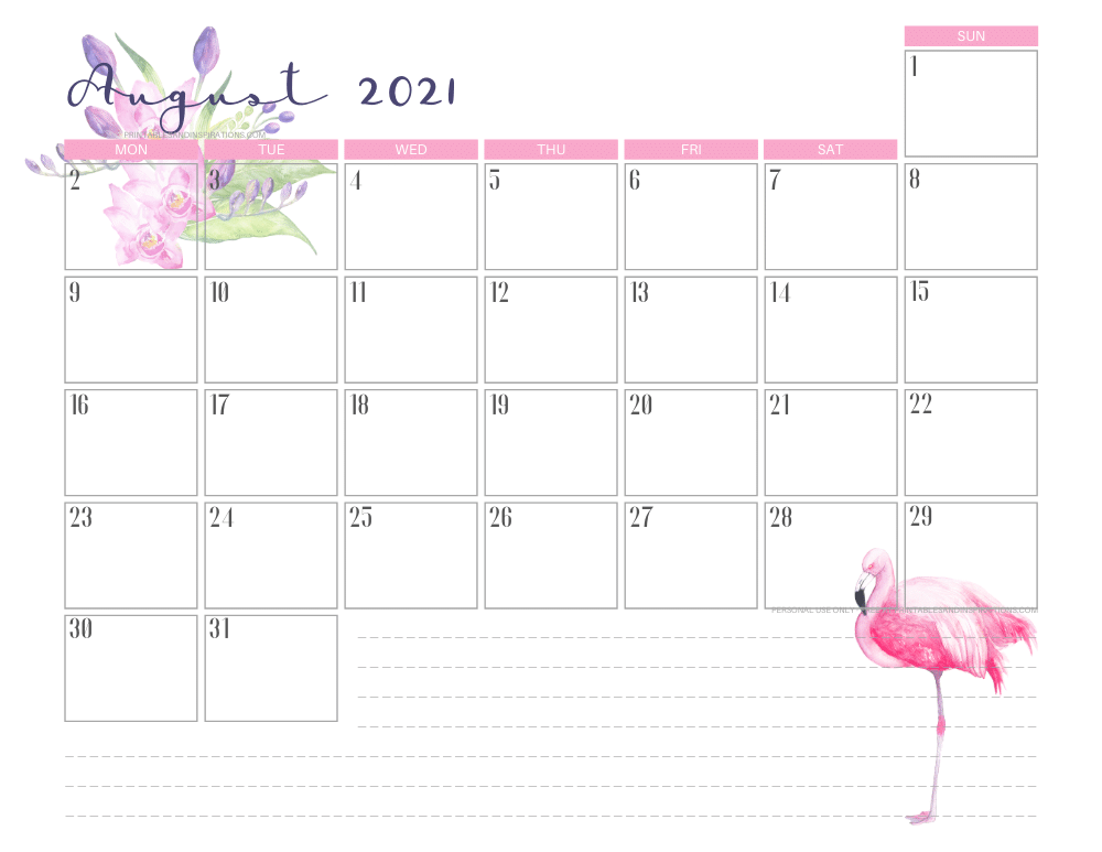 August 2021 calendar free printable - 2021 calendar with flamingo #freeprintable #printablesandinspirations #2021calendar #flamingo