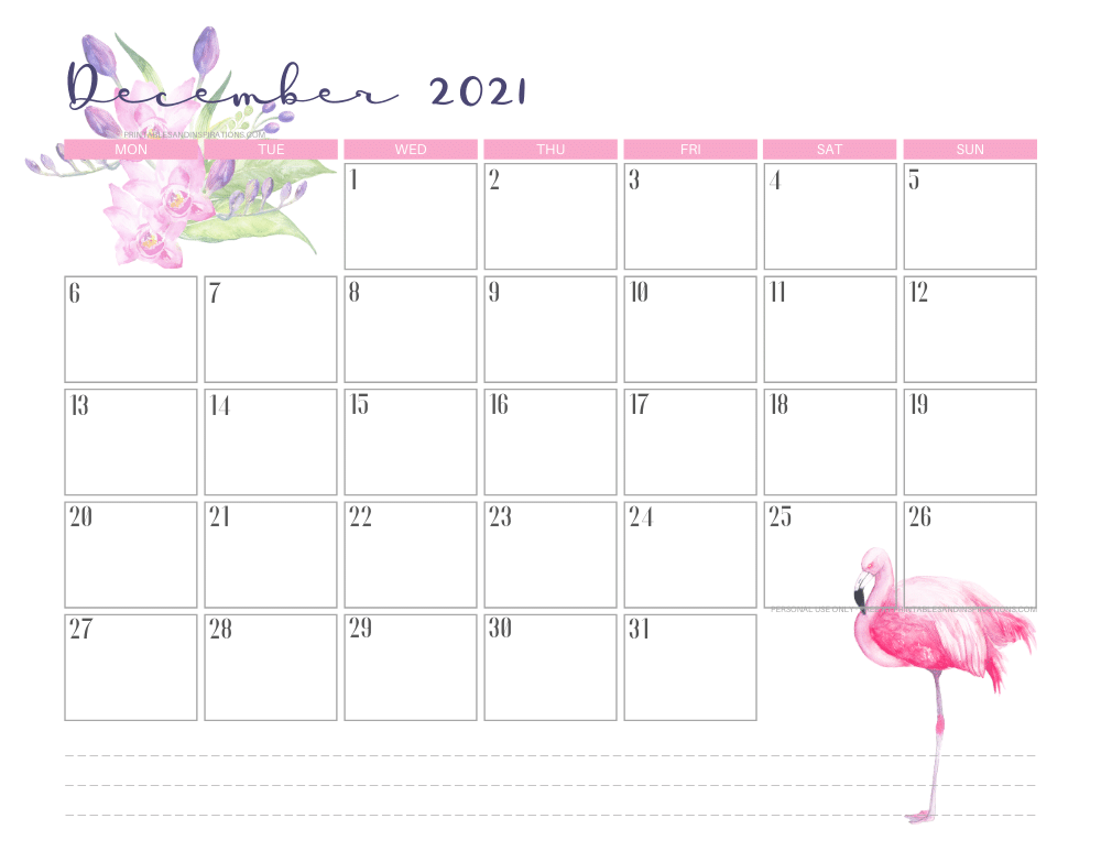 December 2021 calendar free printable - 2021 calendar with flamingo #freeprintable #printablesandinspirations #2021calendar #flamingo