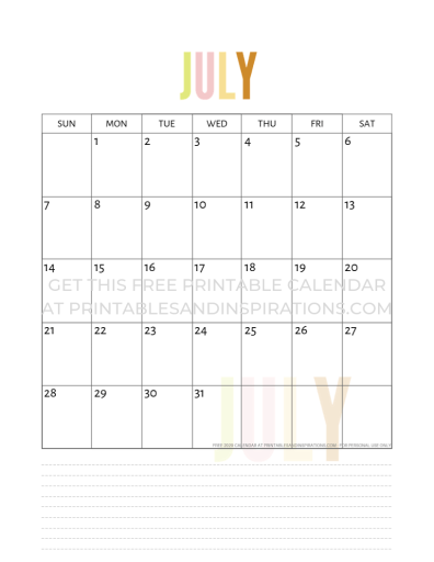July 2019 calendar free printable. #freeprintable #printablesandinspirations