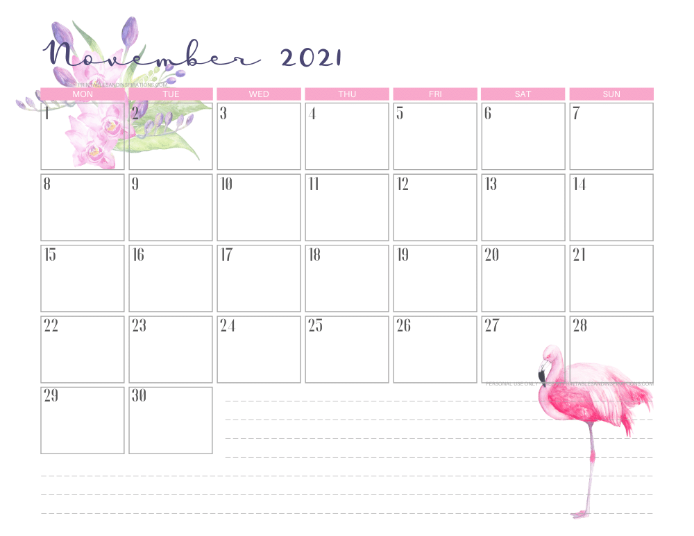 November 2021 calendar free printable - 2021 calendar with flamingo #freeprintable #printablesandinspirations #2021calendar #flamingo