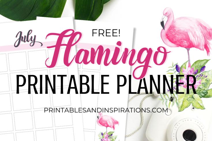 Free Printable Flamingo Planner PDF - DIY planner with pink flamingos plus bullet journal printables. #diy #printableplanner #freeprintable #flamingo #printablesandinspirations #bulletjournal