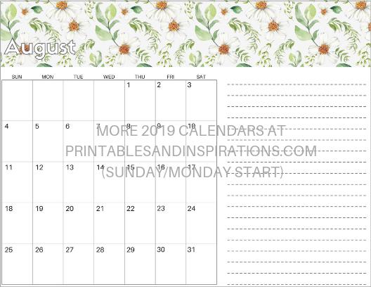 August 2019 calendar free printable pdf