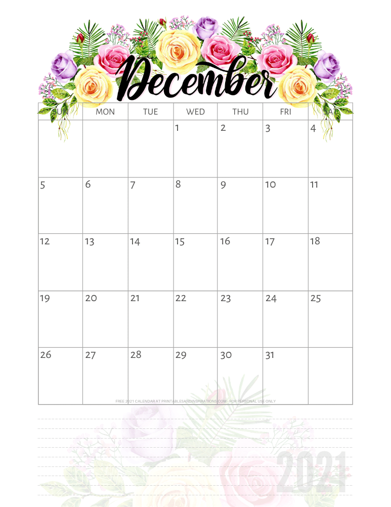 December 2021 pretty calendar printable - go to the previous post to download the PDF file #printablesandinspirations