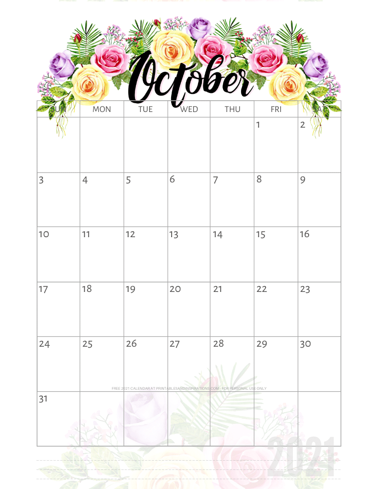 October 2021 pretty calendar printable - go to the previous post to download the PDF file #printablesandinspirations