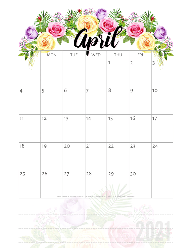 April 2021 pretty calendar printable - go to the previous post to download the PDF file #printablesandinspirations