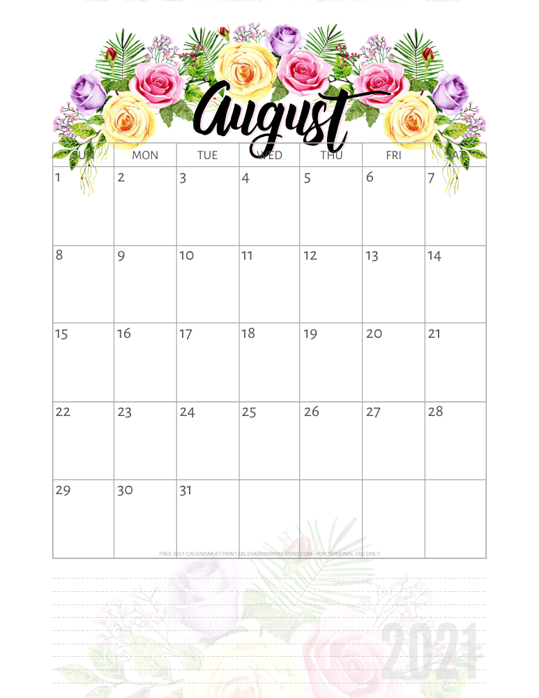 August 2021 pretty calendar printable - go to the previous post to download the PDF file #printablesandinspirations
