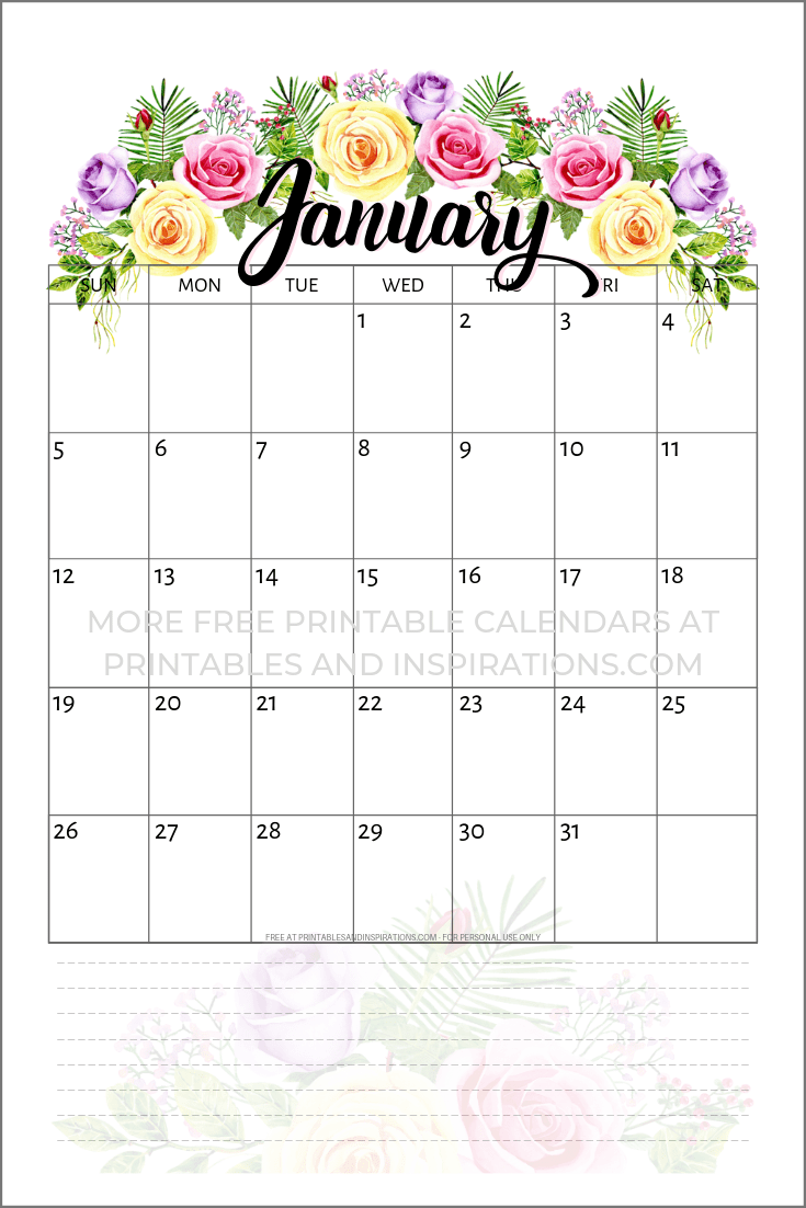 February 2020 Printable Calendar Cute.Free Printable 2020 Calendar With Flowers Printables And Inspirations