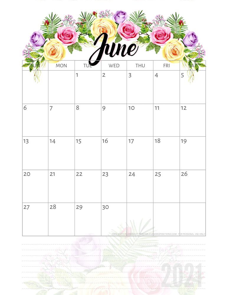 June 2021 pretty calendar printable - go to the previous post to download the PDF file #printablesandinspirations