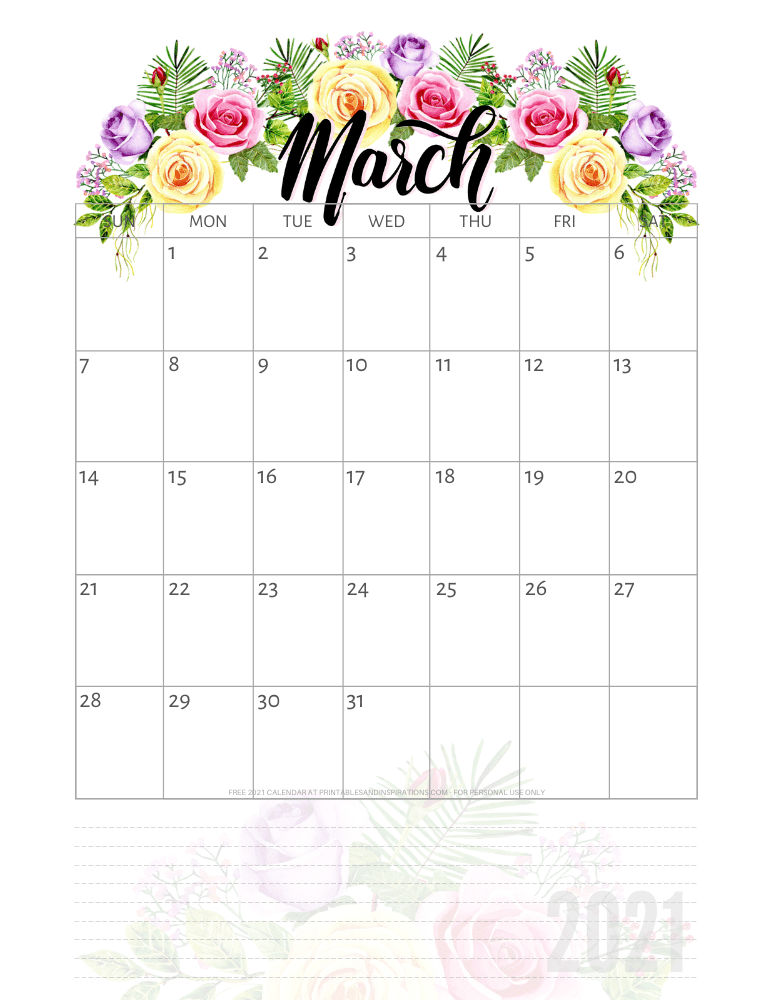 March 2021 pretty calendar printable - go to the previous post to download the PDF file #printablesandinspirations