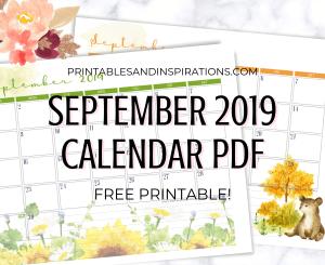 Free Printable September 2019 Calendar PDF - monthly calendar or planner with cute autumn designs. #freeprintable #planneraddict #printablesandinspirations #September