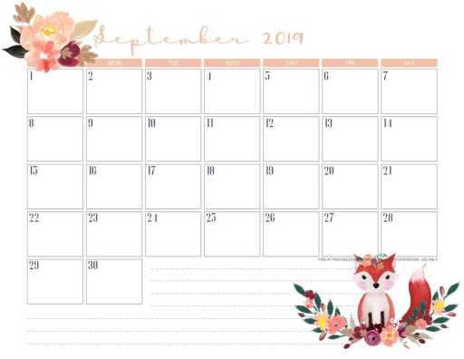 Free Printable September 2019 Calendar PDF - monthly calendar or planner with cute autumn designs. #freeprintable #planneraddict #printablesandinspirations #September