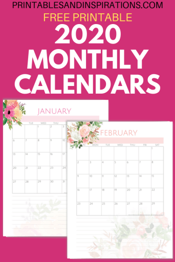 Free Printable 2020 monthly calendar - Pink life planner for 2020 with 33 printable planner pages. #freeprintable #printablesandinspirations #pink #bulletjournal #planneraddict #plannerlover