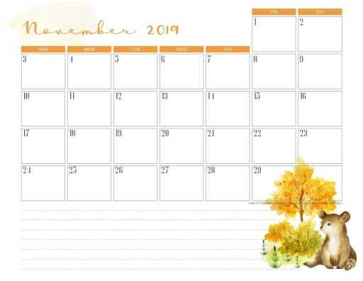 Free printable November 2019 calendar pdf with bear.