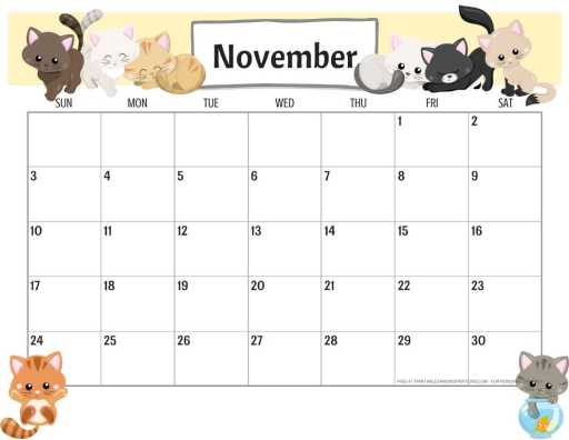 Free printable November 2019 calendar pdf with cats.