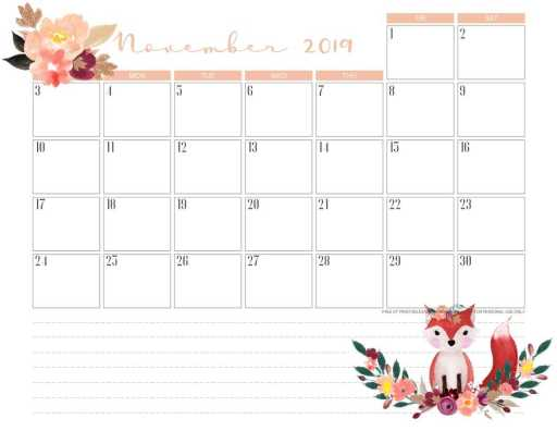 Free printable November 2019 calendar pdf with fox.