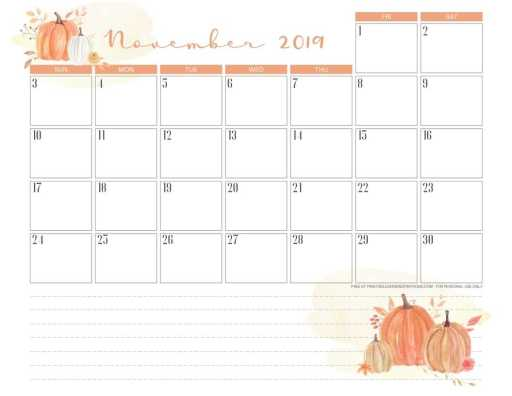 Free printable November 2019 calendar pdf with pumpkin for thanksgiving.