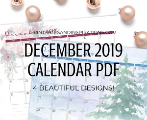 Free Printable December 2019 calendar planners with Christmas and winter design. #freeprintable #printablesandinspirations #christmas