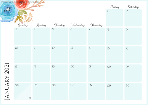 Free Printable Blue 2021 Monthly Calendar And Weekly Planner PDF #freeprintable #printablesandinspirations SEE PREVIOUS POST TO DOWNLOAD THE PDF