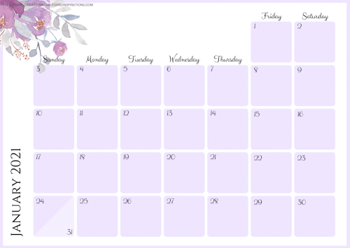 Free Printable Purple 2021 Monthly Calendar And Weekly Planner PDF #freeprintable #printablesandinspirations SEE PREVIOUS POST TO DOWNLOAD THE PDF