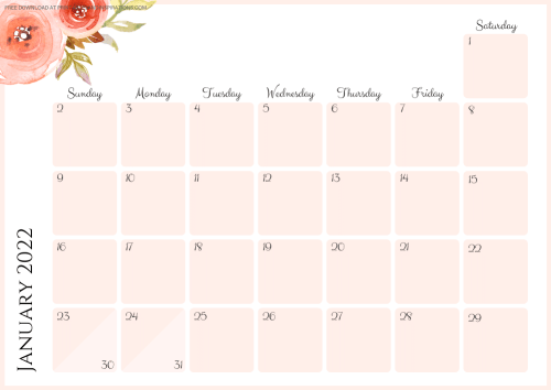 JANUARY 2022 peach calendar - free printable monthly planner with pretty flowers #printablesandinspirations - SEE PREVIOUS POST TO DOWNLOAD THE COMPLETE 2022 CALENDAR