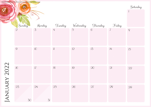 JANUARY 2022 pink calendar - free printable monthly planner with pretty flowers #printablesandinspirations - SEE PREVIOUS POST TO DOWNLOAD THE COMPLETE 2022 CALENDAR