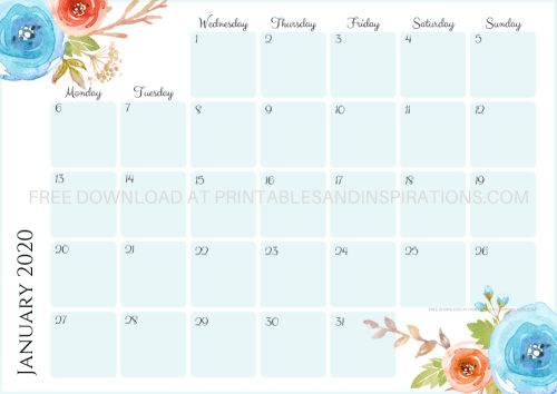 Free Printable Blue 2020 Monthly Calendar And Weekly Planner - 4 beautiful calendars for A4 size or A5 size with flowers. Free pdf download now! #freeprintable #printablesandinspirations