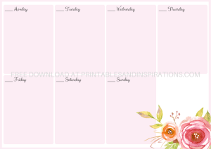 Free Printable Weekly Planner - 4 beautiful colors for A4 size or A5 size with flowers. Free pdf download now! #freeprintable #printablesandinspirations