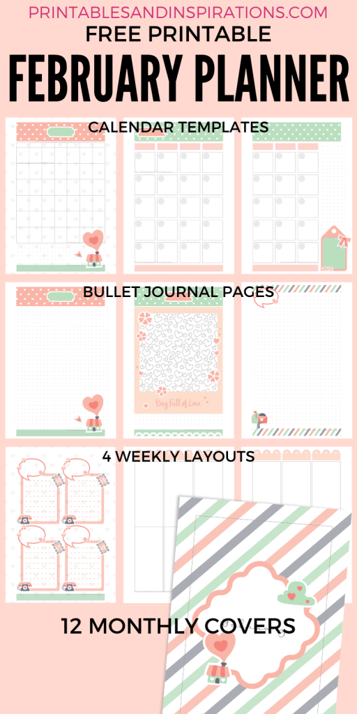 February 2020 planner free printable - valentine bullet journal printable template with dot grid #bulletjournal #freeprintable #printablesandinspirations