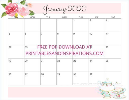 January 2020 calendar free printable #printablesandinspirations #freeprintable