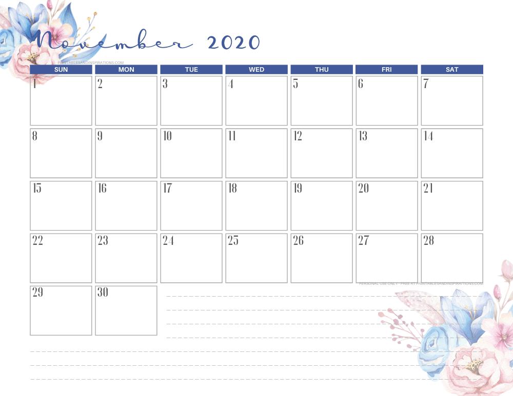 Free printable November 2020 calendar CLASSIC BLUE theme