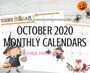 OCTOBER 2020 Monthly Calendar Free Printable PDF - 2020 monthly calendar. AUTUMN or Halloween CALENDAR. Get your free download now! #freeprintable #printablesandinspirations