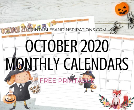 OCTOBER 2020 Monthly Calendar Free Printable PDF - 2020 monthly calendar. AUTUMN or Halloween CALENDAR. Get your free download now! #freeprintable #printablesandinspirations