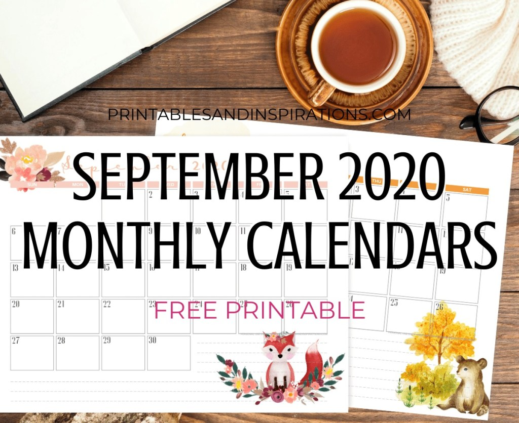 SEPTEMBER 2020 Monthly Calendar Free Printable PDF - 2020 monthly calendar. AUTUMN CALENDAR. Get your free download now! #freeprintable #printablesandinspirations