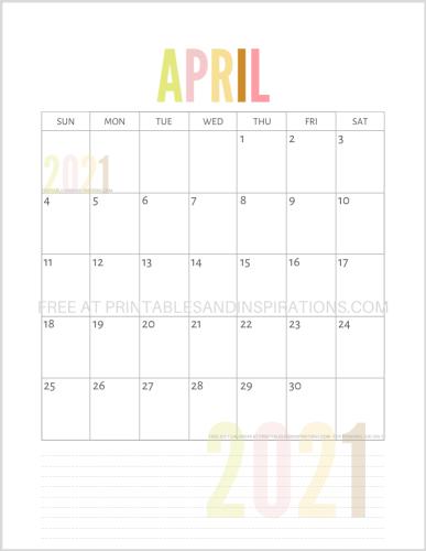 April 2021 calendar free printable pdf - downloadable 2021 monthly calendar