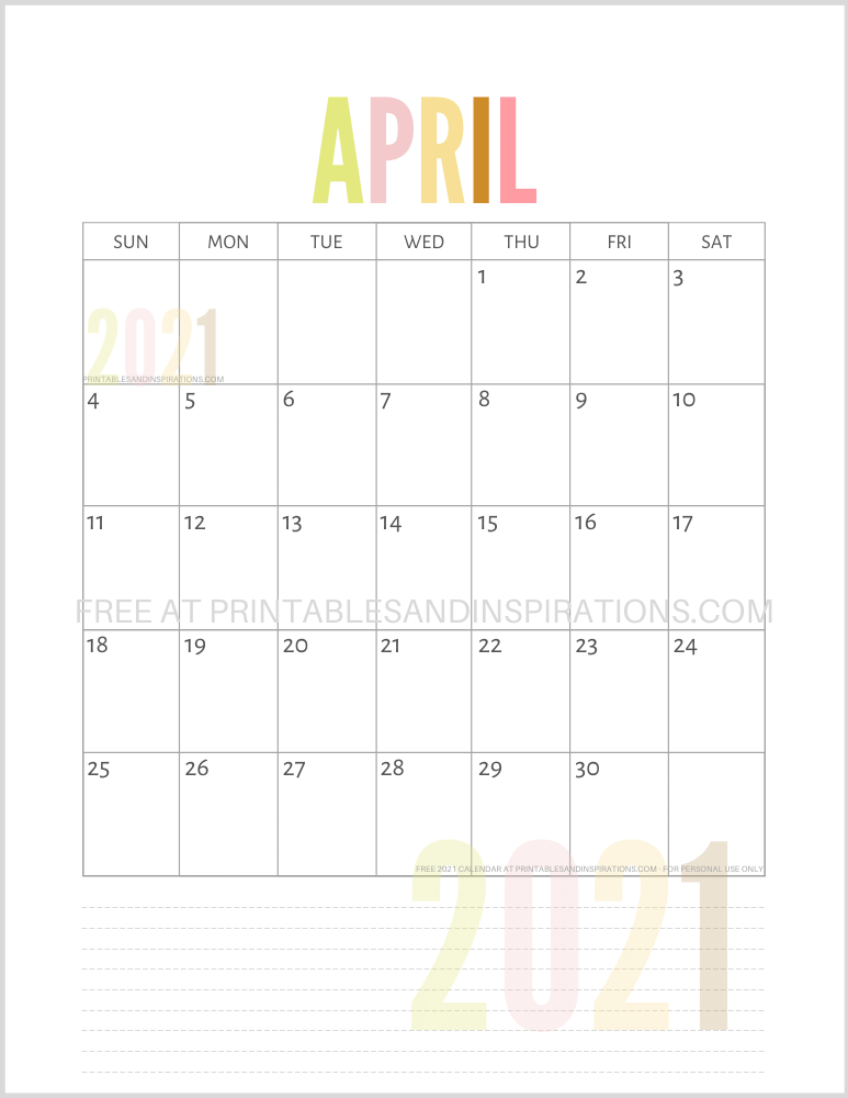 April 2021 calendar free printable pdf - downloadable 2021 monthly calendar