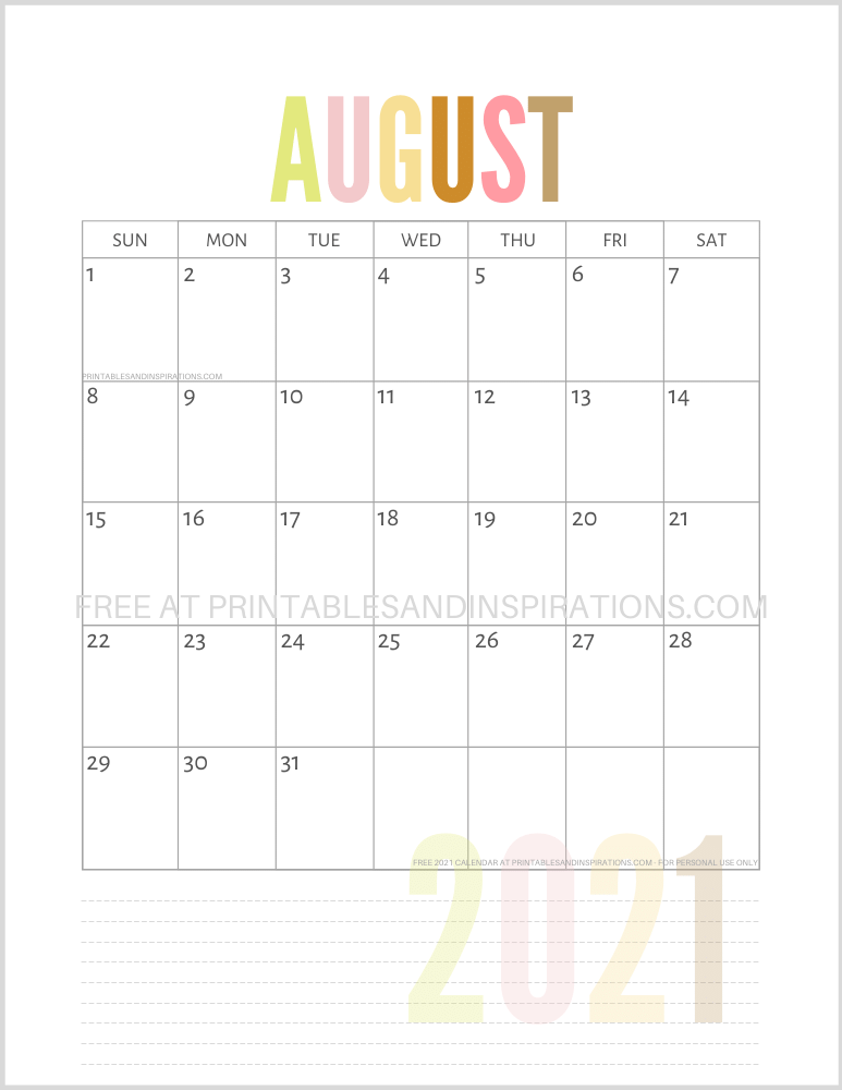 August 2021 calendar free printable pdf - downloadable 2021 monthly calendar