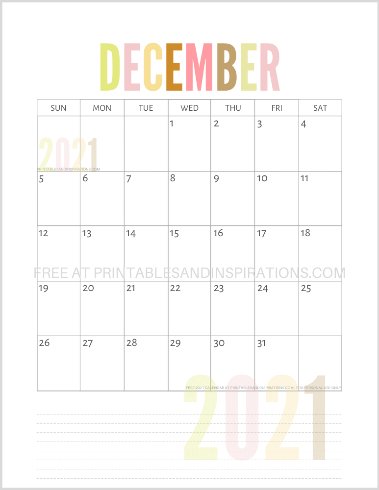December 2021 calendar free printable pdf - downloadable 2021 monthly calendar