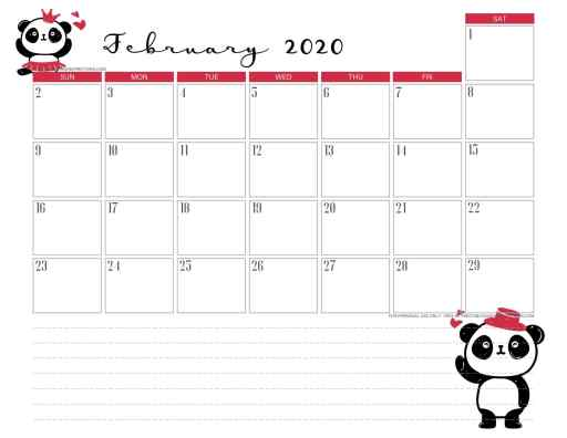 February 2020 calendar PDF - free printable monthly planner with cute panda theme. #freeprintable #printablesandinspirations