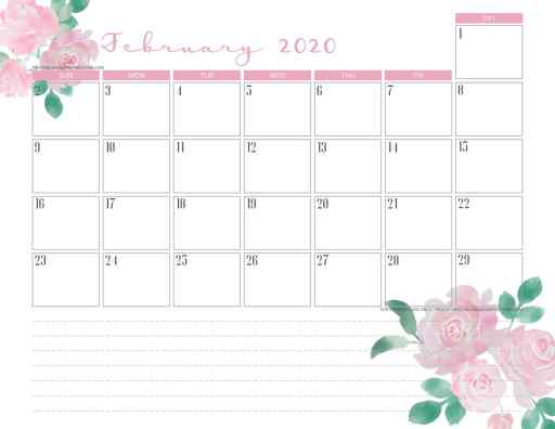 February 2020 calendar PDF - free printable monthly planner with Valentine roses. #freeprintable #printablesandinspirations