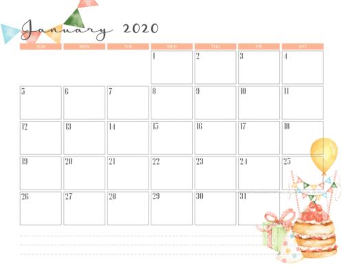 January 2020 calendar PDF - free printable monthly planner with birthday theme. #freeprintable #printablesandinspirations
