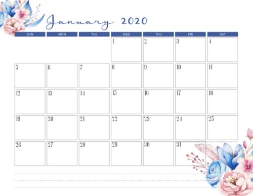 January 2020 calendar PDF - free printable monthly planner with blue flowers theme. #freeprintable #printablesandinspirations