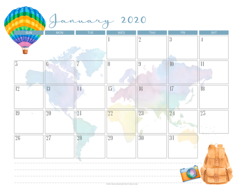 January 2020 calendar PDF - free printable monthly planner with travel theme. #freeprintable #printablesandinspirations